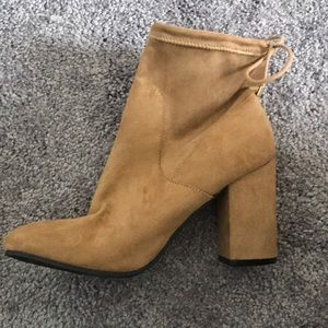Brand new taupe suede booties, never worn